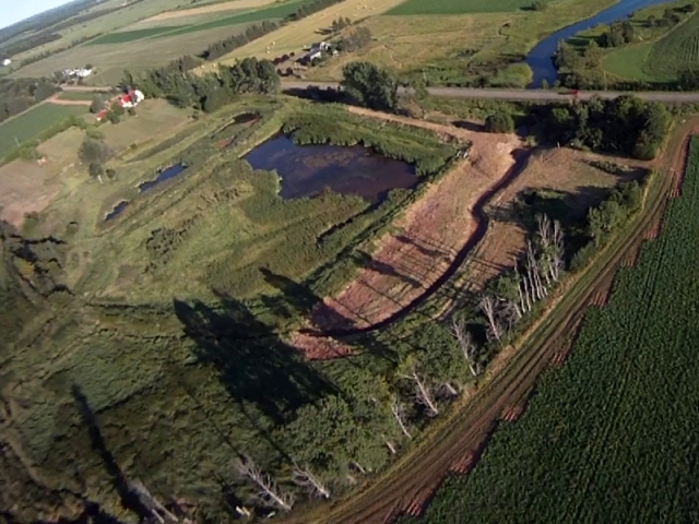 Aerial view of site, Aug 2013. Credit: Ron Huybers